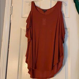 reddish/orange off the shoulder top